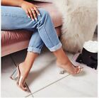 Women New Fashion PVC Apricot Clear Slippers Transparent High Heels 12Cm Sandals