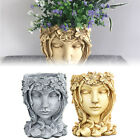 Greek Goddess Head Statue Flower Pot Succulent Planter Resin Vase Home Art Decor