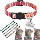 Adjustable Nylon Safety Cat Collar Print Personalized Name Engraved Pet Collars