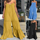 ZANZEA Womens Bohemian Solid Loose Playsuits Strappy Bloomers Pants Bodysuits