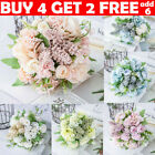 13 Heads Silk Peony Artificial Flowers Fake Bouquet Wedding Home Party Decor Uk