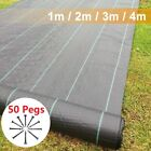 100gsm Weed Control Fabric Ground Cover Membrane Garden Landscape Sheet +50 Pegs
