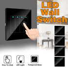 1-4 Gang Tempered Mirror LED Light Wall Free Click Switch Home Push Button A