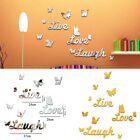 Removable 3d Mirror Butterfly Letters Wall Sticker Decal Romantic Home Decor Uk