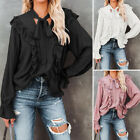 Womens Long Puff Sleeve Ruffle Blouse V-Neck Casual T-Shirt OL Work Summer Shirt