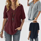 Women Summer Half Sleeve V Neck Tops Oversized Loose Solid Shirt T-Shirt Blouse
