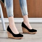 Womens Round Toe Wedge High Heels Platform Shoes Faux Suede Slip On Casual Pumps