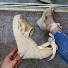 Womens Wedge High Heels Sandals Espadrilles Shoes Peep Toe Ankle Strappy Heels