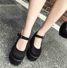 Womens Gothic punk Round Toe faux Suede Mary Janes High Heels Platform Shoes