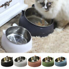 Steel Water Food Dish Pet Dog Cat Protect The Cervical Spine Feeding Bowl