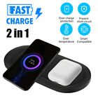 2 In 1 Fast Wireless Charger Station Charging Dock Pad Mat For iPhone Air Pods
