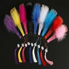Fan Party Decorative With Tassels Folding Fans Embroidered Flower Feather Fan