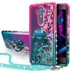 For ZTE Carry Z981 ZMax Pro Case Moving Bling Liquid Glitter Cover + Ring Stand
